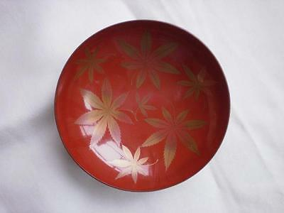 Antique Japanese lacquer sake cup with maple leaves 1900-15 handpainted #3834