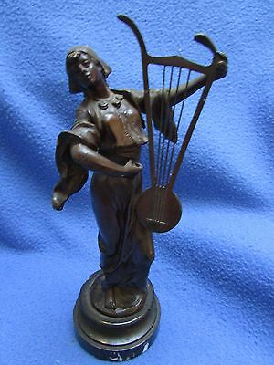 19th century bronze figure of a woman playing a lyre, on marble base