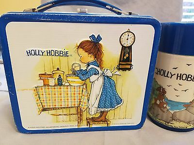 Vintage  Holly Hobbie Metal Lunch Box w/Thermos Aladdin, American Greetings