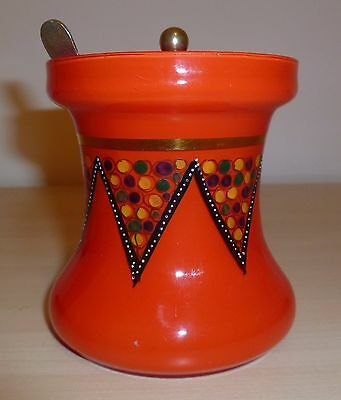 VINTAGE RETRO HAND PAINTED RED GLASS PRESERVE POT 1950s