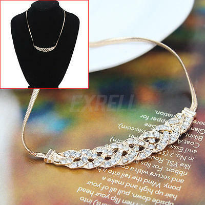 Golden Exquisite Unique Rhinestone Plait Twist Bib Choker Necklace Chain Hotsell
