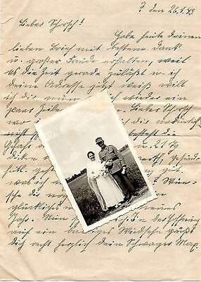 Original Ww11 German Letter + Photo Of Wedding Day, Decorated Soldier..