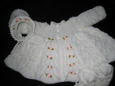 """HAND KNITTED WHITE MATINEE COAT, BONNET & BOOTEES 22 """" REBORN or 3M+ BABY"""