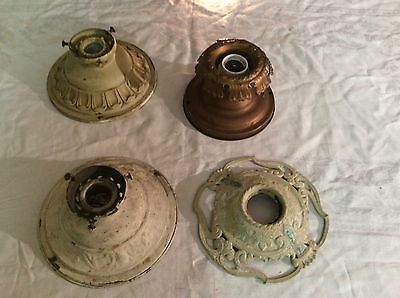 Lot 4 Antique Flush Mount Ceiling Light Fixtures Stamped Brass Aluminum LOOK