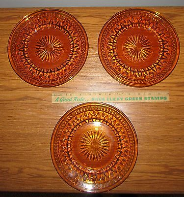"""3 Vintage Indiana Colony Park 8"""" Glass Plates Amber Gold"""