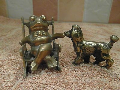 Two Collectable Brass Items-A Frog On A Chair And A Poodle