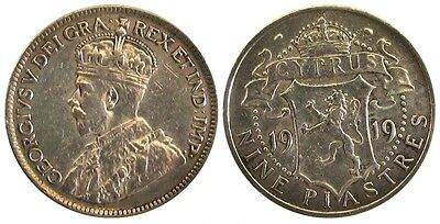 +++ Cyprus Silver 9 Piastres 1919 (Km# 13) George V - High Grade +++
