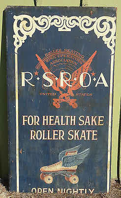 WWII Roller Skating Rink Sign 40s Vintage Huge Art Deco RSROA Hand Painted