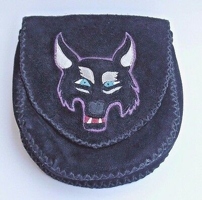 RENAISSANCE Medieval Black Suede WHIPSTITCHED Leather WOLF Belt Pouch