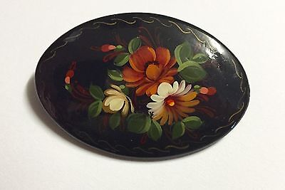 Vintage Russian Hand Painted Lacquer Floral Bouquet PIN Brooch Signed
