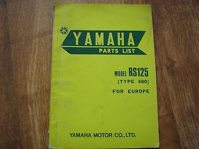 Yamaha Rs 1974 Parts List ,  Type 480 For Europe,(Rare)