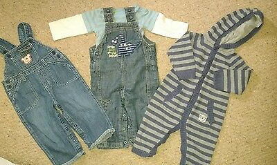 Boys Next and M and Co dungaree bundle 9-12