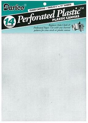 """Darice - 14  Count plastic Canvas - Clear - 2 Sheets 8.5"""" X 11"""""""