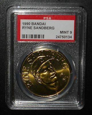 PSA 9 Mint 9 - Ryne Sandberg 1990 Bandai Chicago Cubs Sport Stars Collector Coin