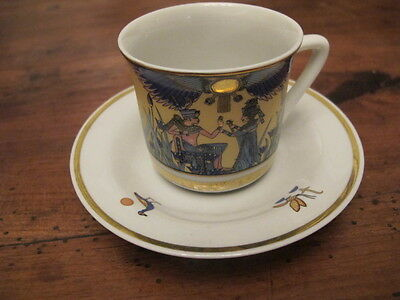 Pretty T Limoges Egyptian Pattern  Coffee Cup And Saucer