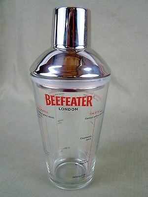 Beefeater Cocktail Shaker - London Recipe - Glass Drink Mixer with Stainless Lid