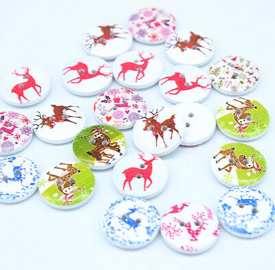 30pc Santa elk Wooden pattern Buttons Round 2 holes Sewing Scrapbooking 20MM F06