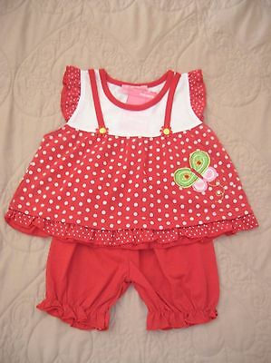 """Girls Red """"Butterfly"""" Top & Shorts 2-piece Outfit (Cantarana, 2-3 years) *BNWT*"""