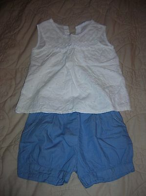 Girls' White Lacey Top & Blue Shorts 2-piece Outfit (Matalan, 3-4 years) *SMALL*