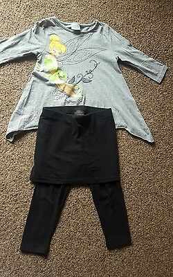 Disney grey Tinkerbell top and NEXT black skirt/leggings girls age 4 to 5