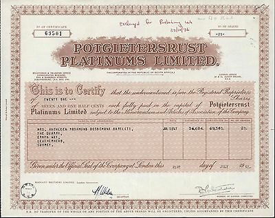 (South Africa) Share certificate Potgietersrust Platinums Ltd.