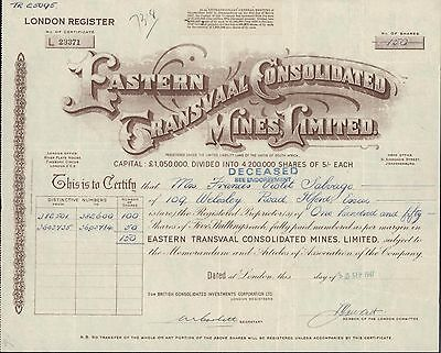 (South Africa) Share certificate Eastern Transvaal Consolidated Mines Ltd.