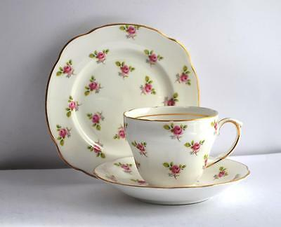 Vintage Cup Saucer Plate Pink Duchess Rosebud Roses Trio Fine Bone China Tea Set