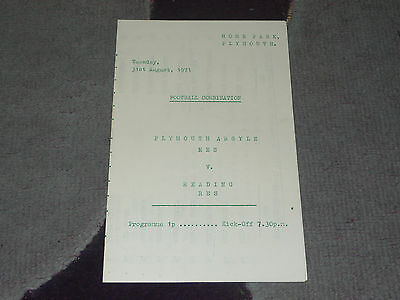 1971/72 Football Combination - PLYMOUTH ARGYLE Reserves v. READING Reserves