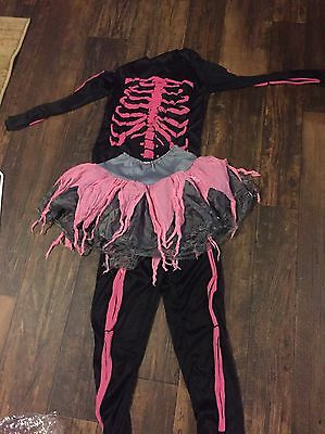 Girl's Pink And Black Skeleton Halloween Costume Size Large