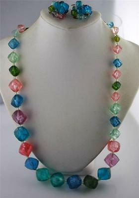 Vintage Western Germany plastic multi color faceted necklace & clip on earrings