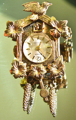 Emka Cuckoo Clock Broach Pendant Serviced Working Miniature Vintage Jewelled
