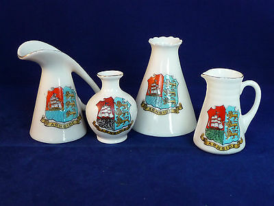 4 Crested china jugs & vases - Arcadian & Victoria Chain - Arms of Arnside
