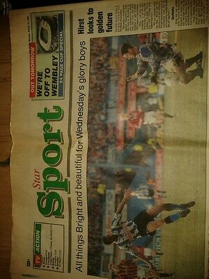 Sheffield Star March 15th 1993 sheffield wednesdays Rumberlows league cup semi