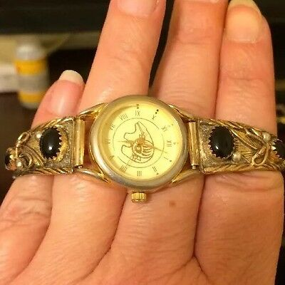 925 Sterling Navajo Native American Watch, Signed HH, 12k Gf, Works!