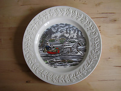 Adams Colored Christmas Plate Showing Engraving For The People By N.currier - Ny