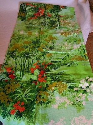 2 MINT panels MID CENTURY MODERN Floral Curtains Drapes floral green