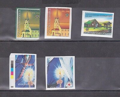 ICELAND Nice lot of 5 pcs Christmas seals ERROR perforations stamps