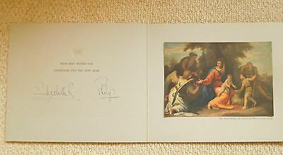 Queen Elizabeth II and Prince Philip, lovely rare 1958  signed Christmas card