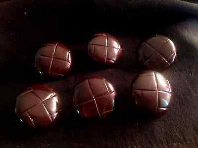Set of Six Dark Chocolate Brown Bakelite Buttons Woven Pattern 1 Inch Vintage