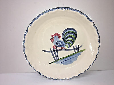 Los Angeles Potteries 1971 Rooster Crimped Pie Plate