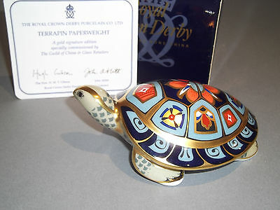Royal Crown Derby Gold Signature Edition Terrapin Paperweight Boxed 1st Quality