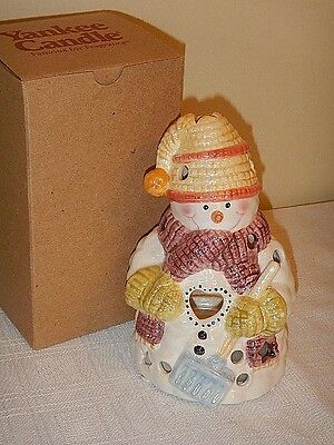 New YANKEE CANDLE Christmas Snowman Tealight Holder NIB
