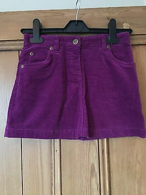 John Lewis Fine Cord Purple Mini Skirt 7-8