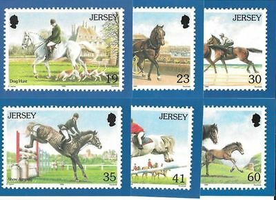 JERSEY 1996 Horses POSTCARD set mint (not stamps)