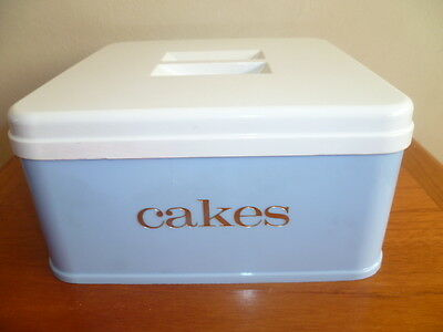 CAKE STORAGE BOX in Baby Blue / White Lid Gold Lettering Vintage Stewart 1960s