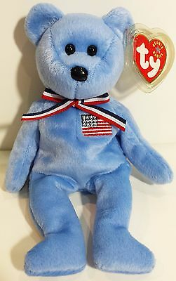 """TY Beanie Babies """"AMERICA (Blue)"""" USA TEDDY BEAR - MWMTs! RETIRED & A MUST HAVE!"""