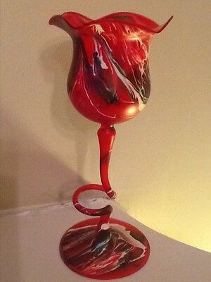 Vintage Blown glass vase decorated red and white
