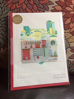 Starbucks CHICAGO 2016 Holiday Edition Card -  New, Unopened !