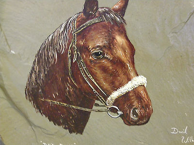 A Vintage Original Oil Painting on Slate of Red Rum Grand National Horse etc