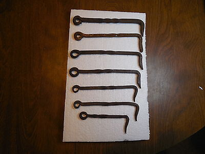 7 Vintage Antique Wrought Iron Latch Hooks Gate Barn Door Hand Forged Twist